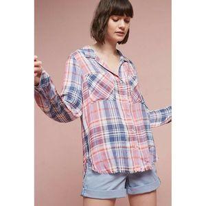 Cloth & Stone Frayed Plaid Button Down Shirt